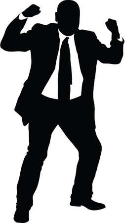 angry man: A silhouette of an angry businessman making fists.