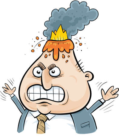 A cartoon volcano erupts from an angry businessmans head.