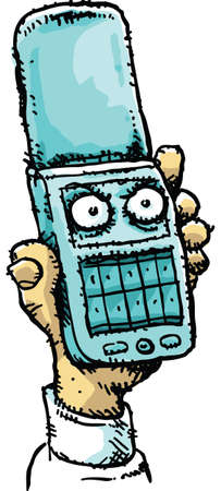 cellphone in hand: A cartoon hand holding an angry, mobile flip phone.