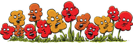 scowl: A group of angry cartoon flowers argue and fight. Illustration