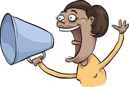 A woman makes a loud announcement through a megaphone.