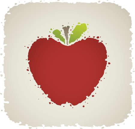 Een frisse, rode cartoon appel met bladeren en een stam.