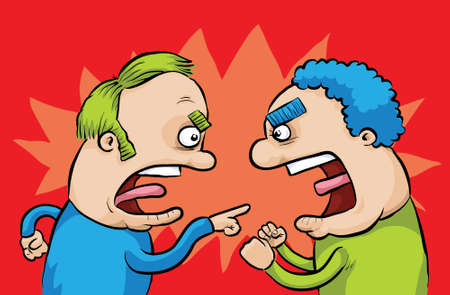 arguments: Two men yell and disagree with one another.