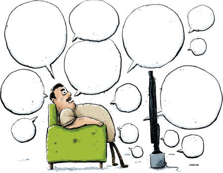 sedentary: A cartoon man talks about television from the comfort of his chair.