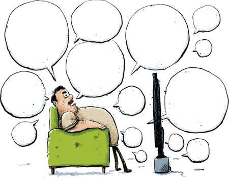sedentario: Un hombre de dibujos animados habla de la televisión desde la comodidad de su silla.