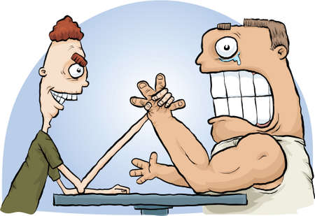 squeeze: A cartoon arm wrestling match with the thin man defeating the muscular man.