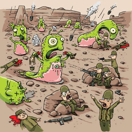 scifi: Cartoon humans battle violent alien slug creatures on a remote planet.