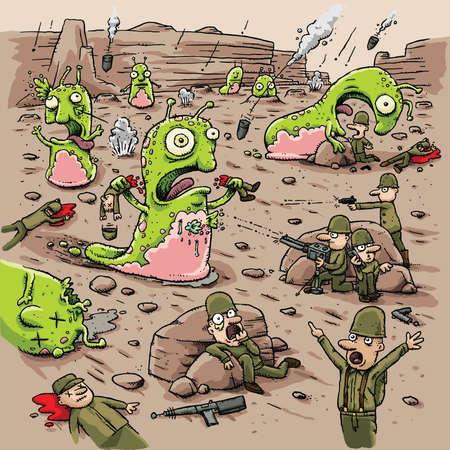 nacktschnecke: Cartoon Menschen k�mpfen gewaltt�tige Ausl�nder Slug Kreaturen auf einem fernen Planeten. Illustration