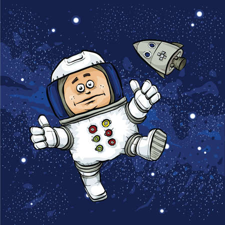 floating: A cartoon astronaut floating in space in front of his space capsule.