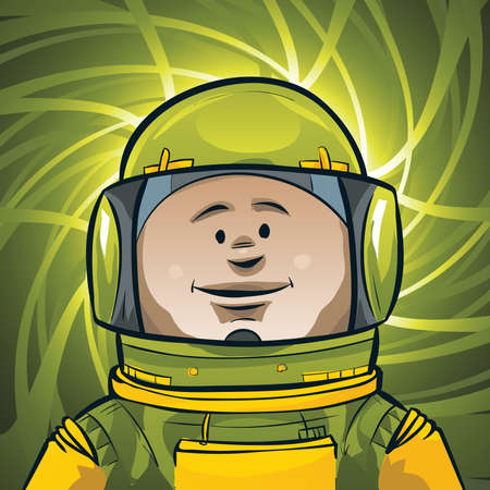 spacesuit: A cartoon astronaut in his spacesuit.