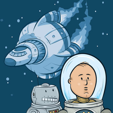 A cartoon astronaut, his robot sidekick and their spaceship in outer space. Vector