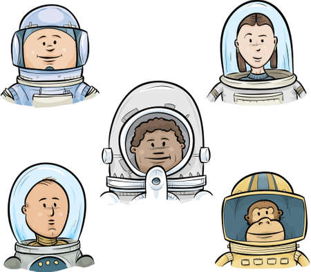 A group of cartoon astronaut faces, including a monkey.