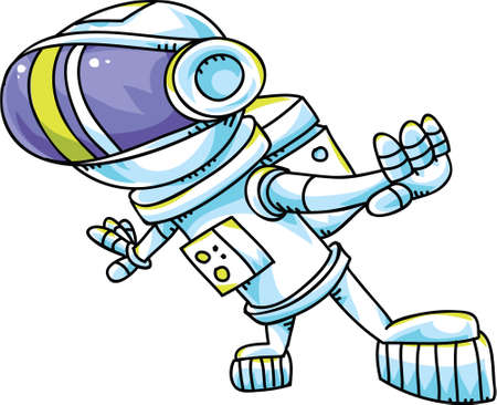 spacesuit: A groovy cartoon astronaut in a spacesuit.