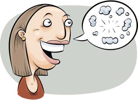 conciencia moral: Una mujer atea de dibujos animados habla de su falta de creencia en lo sobrenatural. Vectores