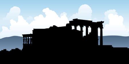 acropolis: Silhouette of the Erehtejon ruins on the Acropolis, Athens, Greece.