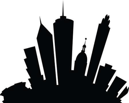 atlanta: Cartoon skyline silhouette of the city of Atlanta, Georgia, USA.
