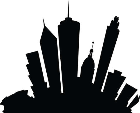 Cartoon skyline silhouette of the city of Atlanta, Georgia, USA.