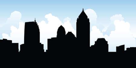 business district: Skyline silhouette of the city of Atlanta, Georgia, USA.