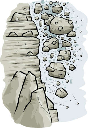 crumbling: Cartoon rocks tumble down the side of a cliff in an avalanche.