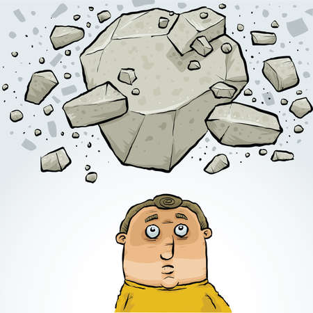 collapsing: A cartoon man about to be hit by falling rock in an avalanche.