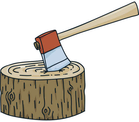 A cartoon axe stuck in a tree stump.