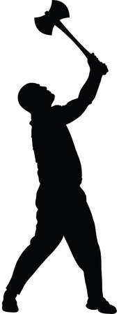 A silhouette of a man swinging an ax. Çizim