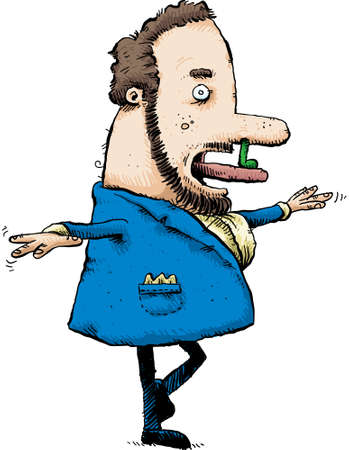 A cartoon man balances on one foot while licking a booger from his nose
