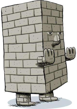 A cartoon monster made of blocks and bricks