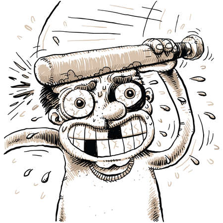 himself: A cartoon man bonks himself in the head with a small, wooden bat  Illustration
