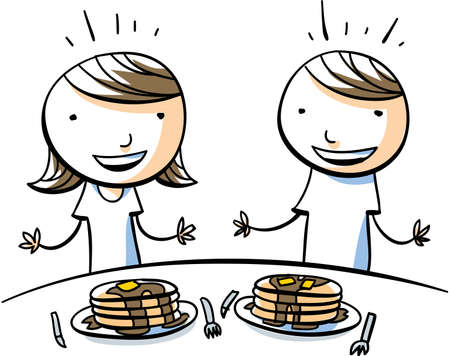 A cartoon boy and girl are excited to eat big piles of pancakes with maple syrup