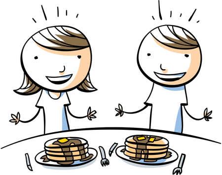 maple syrup: Un ni�o de dibujos animados y la ni�a est�n emocionados de comer grandes pilas de panqueques con jarabe de arce