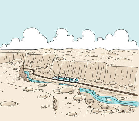 A cartoon train travelling through a desert canyon