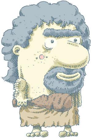 grin: A friendly, cartoon caveman holding a club