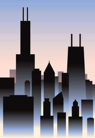 business district: Art Deco style skyline of the city of Chicago, Illinois, USA  Illustration