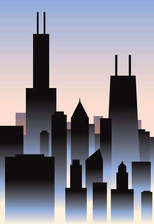chicago: Art Deco style skyline of the city of Chicago, Illinois, USA  Illustration
