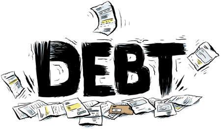 Cartoon text reading DEBT crushing a pile of paperwork