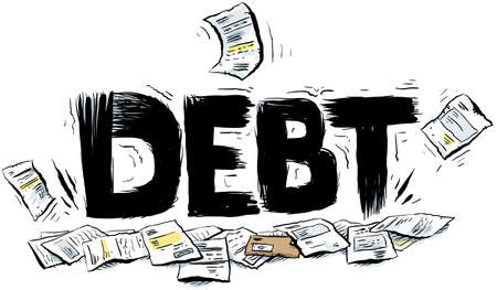 heavy: Cartoon text reading DEBT crushing a pile of paperwork