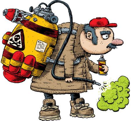 A cartoon pest exterminator spraying with toxic, green pesticide