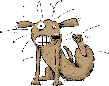 itch: A cartoon dog scratches the fleas off of his body  Illustration