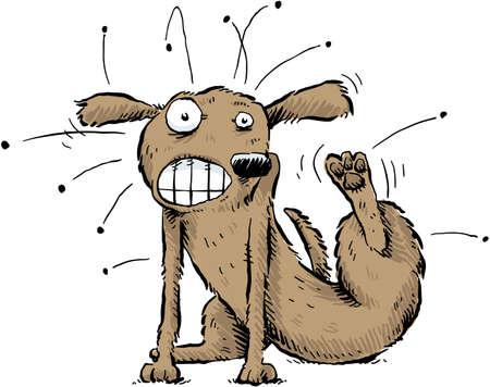 jeuken: Een cartoon hond krabt de vlooien af van zijn lichaam Stock Illustratie