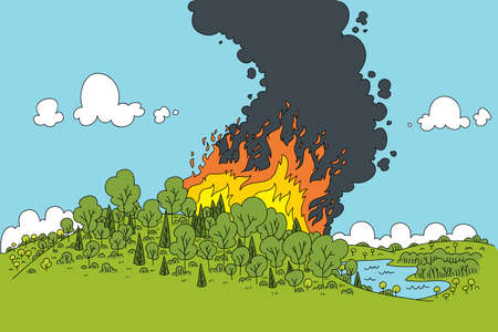 A cartoon fire rages in a green forest