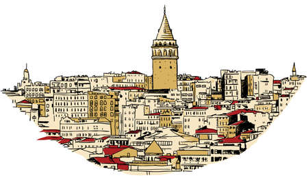Sketch of Galata Tower in the city of Istanbul, Turkey  Çizim