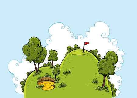 sand trap: A lush, green cartoon hill on a golf course on a bright day