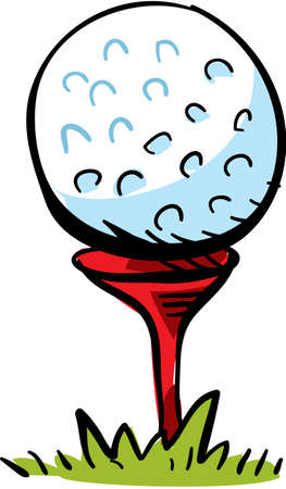 tees: A cartoon golf ball on top of a tee, ready to hit  Illustration