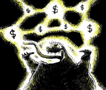 geld: Een gelukkige monster opgewonden te raken over geld