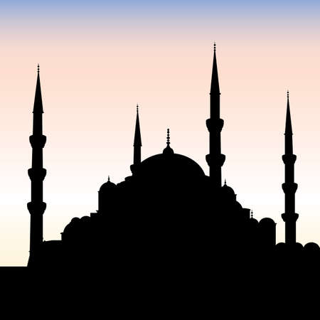 turkey istanbul: Silhouette of the Blue Mosque in Istanbul, Turkey.