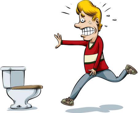 Een cartoon man loopt naar het toilet om te plassen. Stock Illustratie