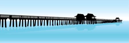 ナポリ、フロリダ、米国のメキシコ湾の熱帯桟橋のシルエット。