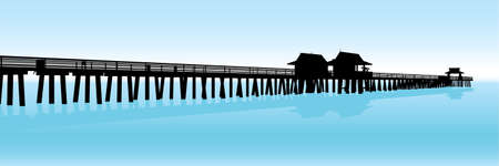 Silhouette of a tropical pier on the Gulf of Mexico in Naples, Florida, USA.  Illustration