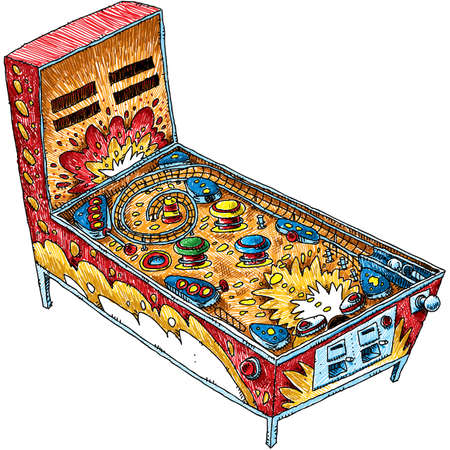 A cartoon pinball machine drawn in a retro line art style.
